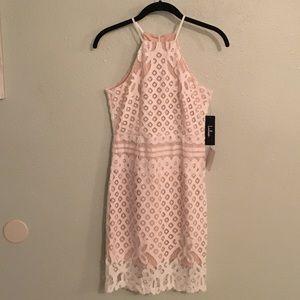 Lulu's White Lace Halter Dress